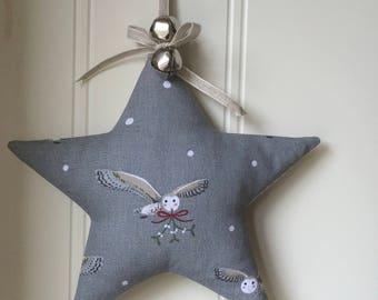 Christmas Star in Sophie Allport  Night Owls fabric Organic lavender
