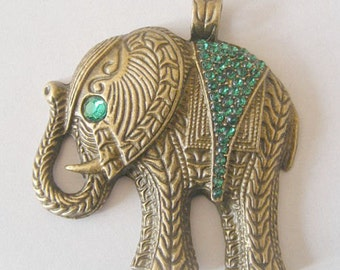 1 Metal Antique Bronze Elephant Charm/Pendant - 60mm