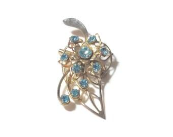 Vintage Pale Blue Rhinestone Pendant/Pin