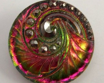 Czech Glass Button, Pendant, Spiral, Green, Fuchsia, Gold, Platinum, 27mm With Pendant Converter C211