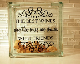Wine Cork Holder, Glass Block, Wine Cork