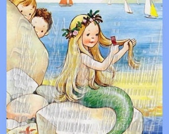 Vintage Baby Mermaid Postcard Fabric Crafts Quilts Block Premium Cotton Material Sew On Applique BM115