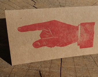 Pointing Hand wood type Letterpress Greeting Card - Chipboard