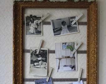 French Vintage Gilt Frame Upcycled with Ribbon and Painted Pegs