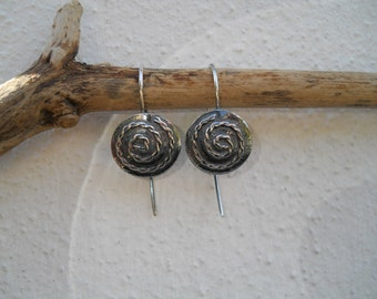 Oxidised silver Celtic spiral design earrings
