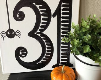 31 Black and White Halloween Canvas- 12X12