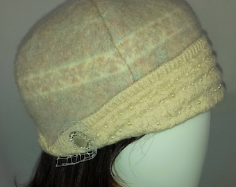 A107 cloche beaded wool hat made from recycled sweaters