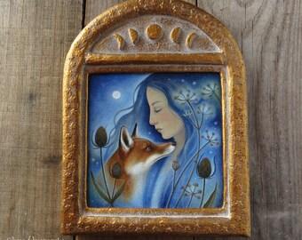 Fox - Original painting with handmade frame