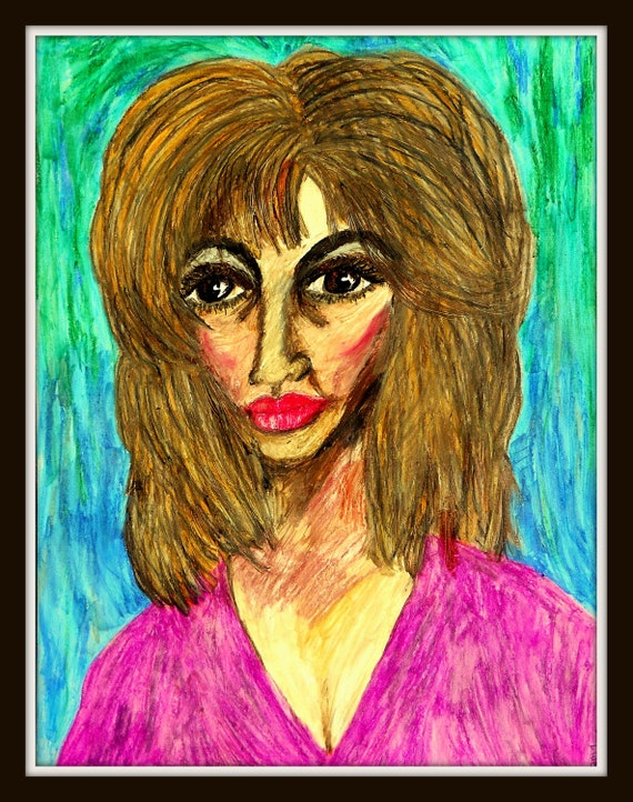 """HANNA - Oil Pastel Painting Portrait of Woman of Color on 24 x 18"""" Mix Media Paper, by Outsider Folk Artist Stacey Torres"""
