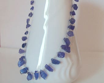 Tanzanite Natural Gemstone Handmade Necklace Wire Wrapped with Sterling Silver Handmade Necklace SALE