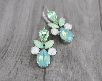 Crystal Bridal earrings, Mint green earrings, Bridal jewelry, Bridesmaid earrings, Sea foam green opal, Wedding earrings, Swarovski crystal