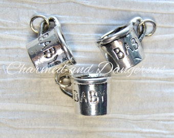 10 pewter 3D Baby Cup charm (CM24)