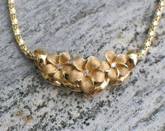 Vintage Floral Diamond 14K Gold Necklace