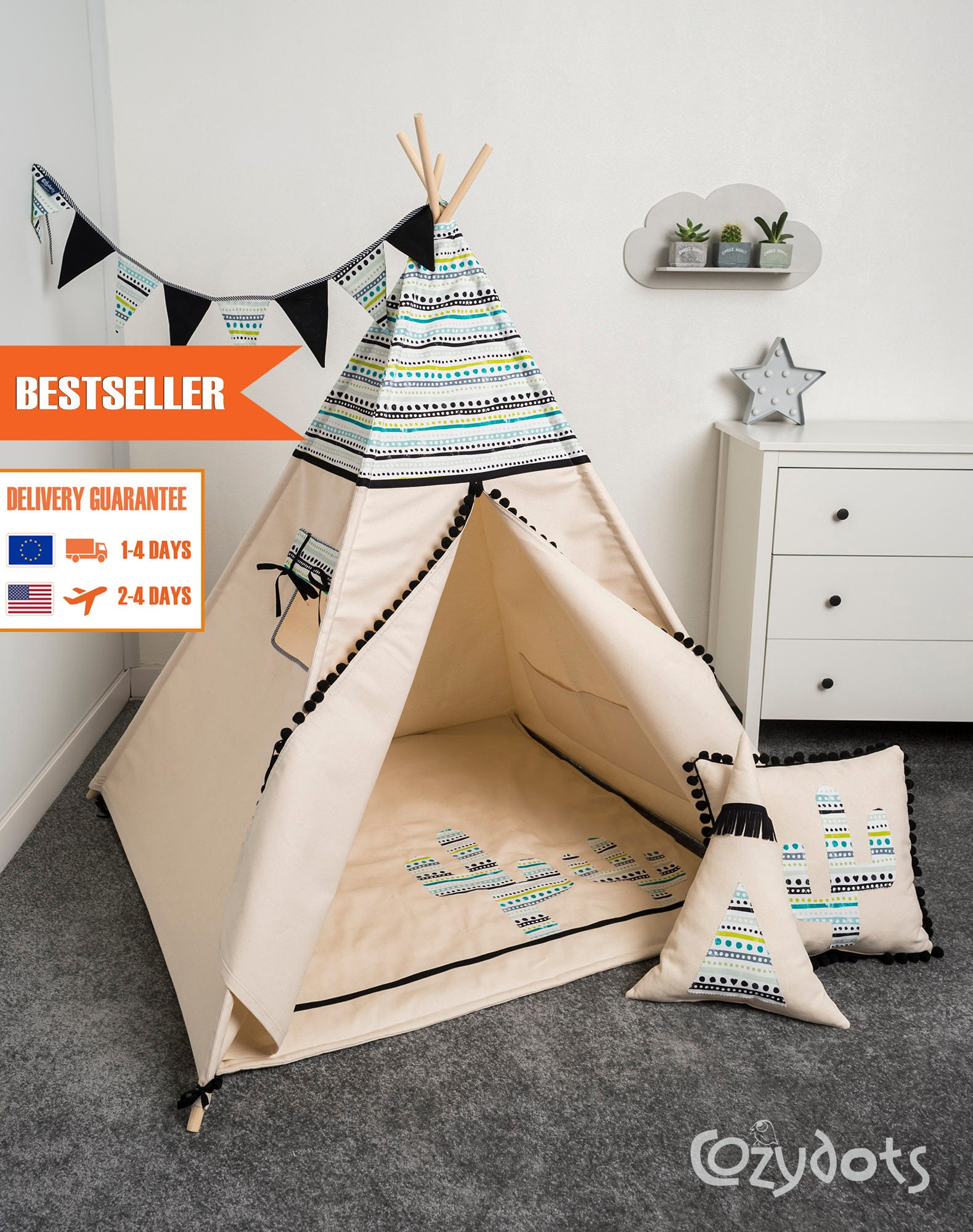 tipi enfant tente tipi tente indienne tente teepee tipi. Black Bedroom Furniture Sets. Home Design Ideas