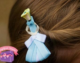 Cinderella Hair Clip - Cinderella Hair Bow - Cinderella Ribbon Sculpture - Disney Princess Clippie - Princess Barrette - Toddler Hair Bow