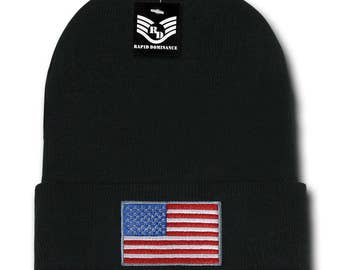 USA American Flag Embroidered Acrylic Cuff Folded Beanie Hat (R94-USA)