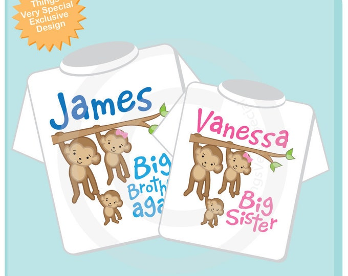 Big Brother Again and Big Sister Shirt set of 2, Sibling Shirt, Personalized Tshirt with Cute Monkeys (01162014g)