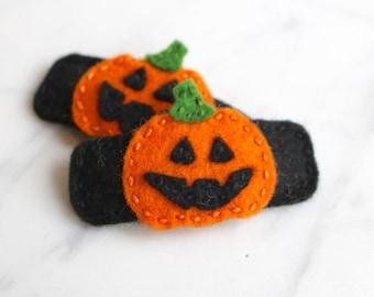 Halloween Pumpkin Wool Felt Hair Clip - Jack-o-lantern Hair Clip - Toddler Felt Hair Clip - Girls Hair Clip