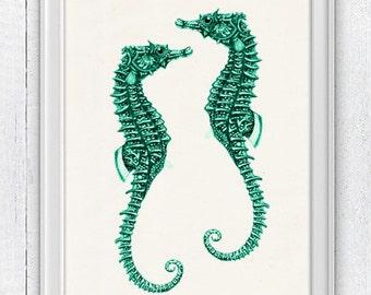 sea horses couple Sealife seafoam -Sealife  Wall decor poster- bathroom wall decoration- A4 art print SAS055