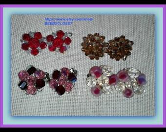 Vintage Earrings, Cluster earrings, 4 pair of earrings, Earring Lot, Vintage Earring lot excellent Crystal vintage beads 1950 mid century