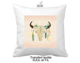 Fusible textile transfer skull boho on pink blush lace