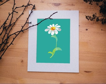 Daisy Art, INSTANT DOWNLOAD, Printable, white, yellow, green, jade, teal