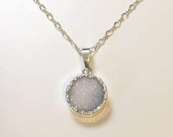 Druzy Necklace Agate gemstone pendant sterling silver necklace 18 inches