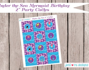 """Mermaid Under the Sea Birthday Printable 2"""" Party Circles - Personalized"""