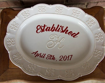 Anniversary Platter, Wedding Platter, Couples Initial Platter, Personalized Gift, Wedding Gift, Personalized Serving Platter