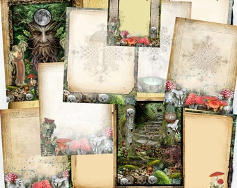12 Digital BoS Pages - Unseelie Court Dark Green Witchcraft - Book of Shadow graphics