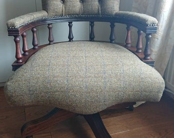 Original Harris Tweed. Classic Captain's Chair. Traditionally reupholstered.