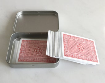 Playing Card Box, Poker Card Box, Rectangular Metal Tins, Blank Hinged Tins, Color Silver 150ml Tin Box, Organising Box, Set Of 6 Boxes