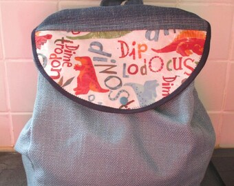 satchel backpack personalized fabric and blue hemp canvas