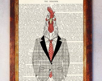 Fashion Rooster with Checkered Jacket and Red Tie Book Art Print, Rooster Wall Art, Rooster Poster, Nursery Print Rooster, Anthropomorphic