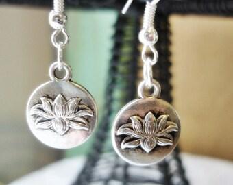 Lotus Flower New Beginnings Earrings, silver Charm Earrings