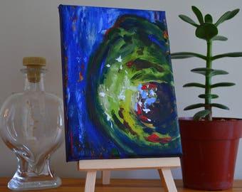 Vibrant Blue Avocado Original Acrylic Painting
