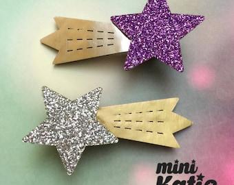 mini Katie Shooting Star Hair Barrette Hair clip Adorable Premium Glitter hair Accessory