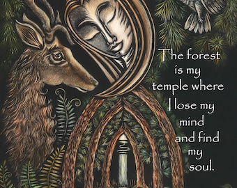 The Forest Is My Temple Matted Print - Scratchboard Quote Art - Black and White Inspirational Word Art - Woodland Forest Illustration