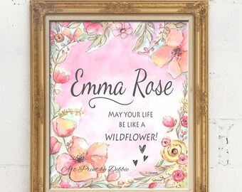 """Personalised Nursery Art For Girls Newborn Baby Gift, Choose Girls Name & Font Color, Flower Wall Decor Pink Coral,  6 Sizes - 5x7 - 24x36"""""""
