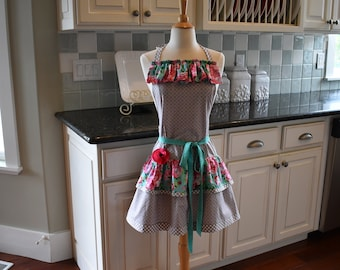 """Pink Posies  Apron ~ """"Ellie Style""""  Double Ruffle Women's Apron""""   4RetroSisters Aprons"""