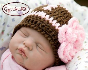 BABY GIRL HATS, Crochet Football Hat, Pink Football Baby Hat, Knit Football Baby Crochet Hat, Baby Football Gifts, Newborn Football Beanie