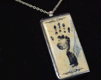 HANDPRINT GOTHIC black Domino Pendant necklace ooak