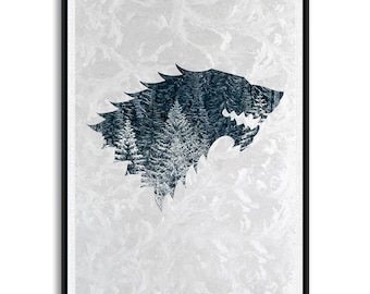 Game of Thrones House Stark Print, House Stark Art, House Stark Decor, House Stark Poster, House Stark Wall Art, Game of Thrones House Stark