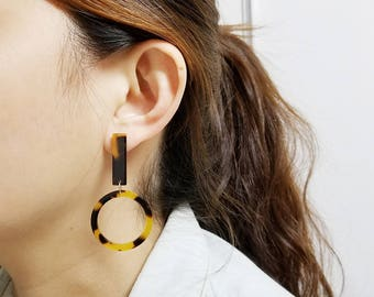 PRE-ORDER Hoop Dangle Tortoise Earring, Simple Minimalist, Dainty Drop Earrings