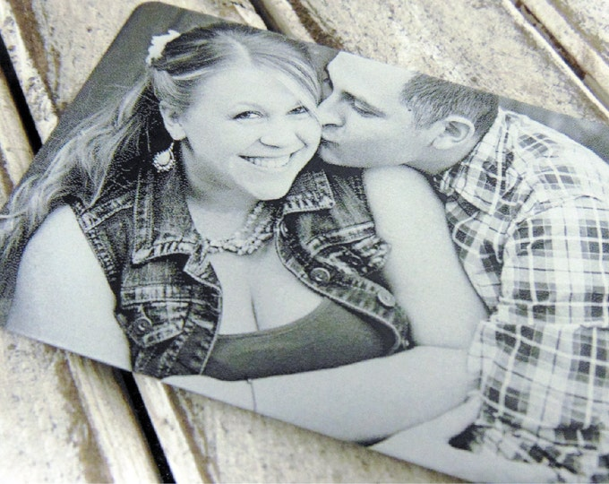 Engraved Picture Gift Card - Wallet Insert - Anniversary Card - Back Engraving Too - Him or Her - Laser Engraved - Handwritten Wallet Insert