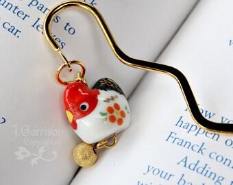 Posh Chicken bookmark - red and white ceramic hen and gold plated egg on a gold plated bookmark - great gift -Free Shipping USA