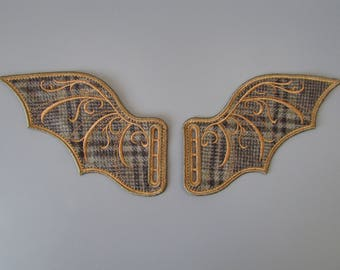 Steampunk Tweed Embroidered Shoe Boot Wings made to order