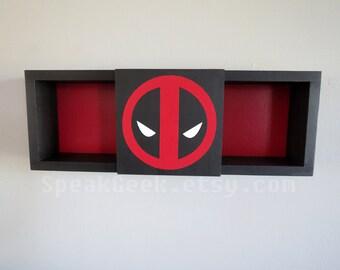 Deadpool - Shadow Box Shelf - Home Decor- Cubbie Shelf - Hand Made - Hand Painted - MADE TO ORDER