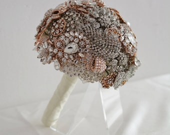 Rose Gold and Silver Full Brooch Wedding Bouquet Alternative Keepsake to Wedding Flowers Bridal Bouquet