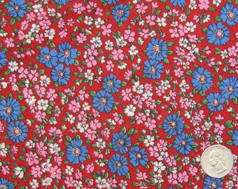 2 yards vintage red floral quilt weight fabric 36 inch wide